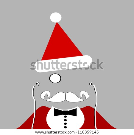 raster of santa with monocle and earphones - stock photo