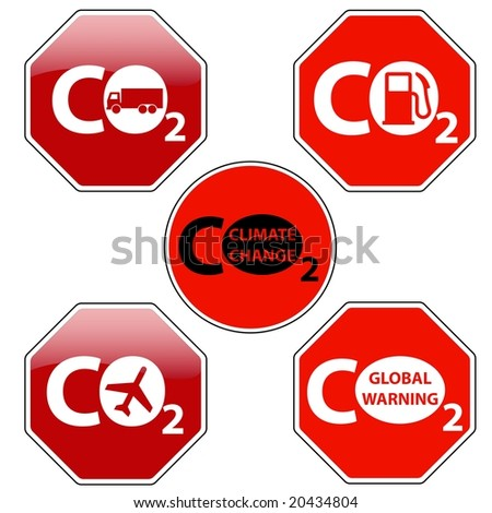 Raster pack of stop signs isolated on pure white (new glossy vs old one color) - STOP CLIMATE CHANGE - stock photo