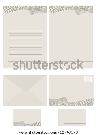 Raster - Paper stationery series for office use, contains memo, fax, envelope and business card.