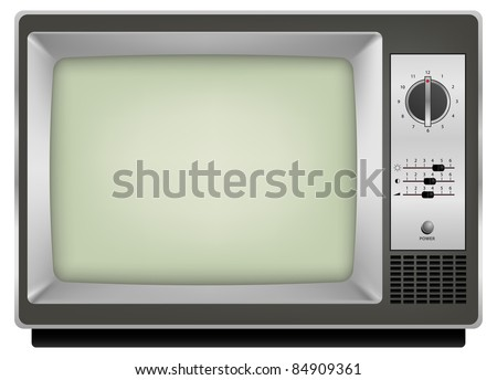 raster photo realistic vintage tv on white background, vector version available - stock photo