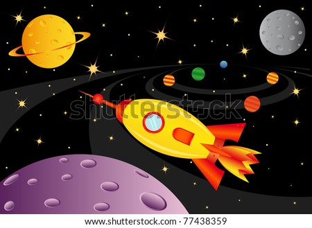 Raster picture with spaceship in the universe, vector version in my portfolio - stock photo