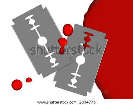 Raster picture with the image of two edges and pools of blood. All on a white background. - stock photo
