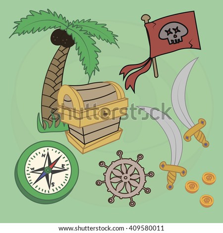 Raster pirate set. Sword, steering wheel, compass, chest of gold, palm tree, pirate flag