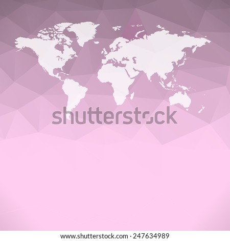 Raster Polygonal World Map background - stock photo