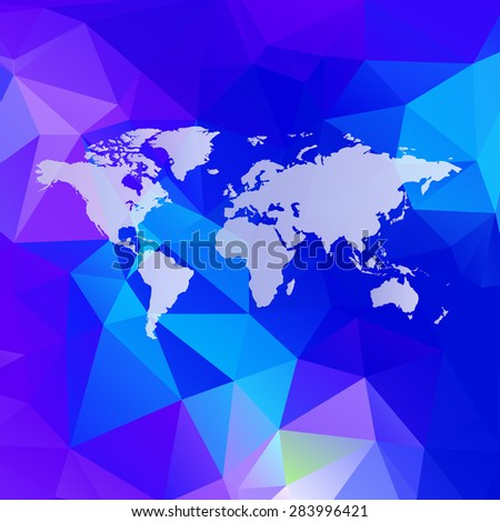 Raster Polygonal World Map background with global network abstract image - stock photo