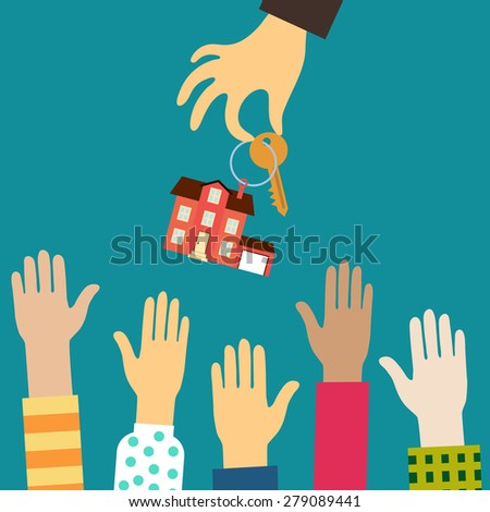 Raster real estate concept in flat style - hand real estate agent holding holds a key with a tag in the form of homes, and buyers are pulling your hands. Demand and supply - stock photo