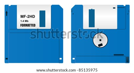 raster realistic floppy diskette, front and back  side, on white background, vector version available - stock photo