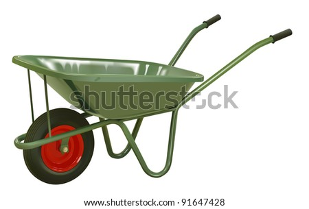 raster realistic green wheelbarrow on white background