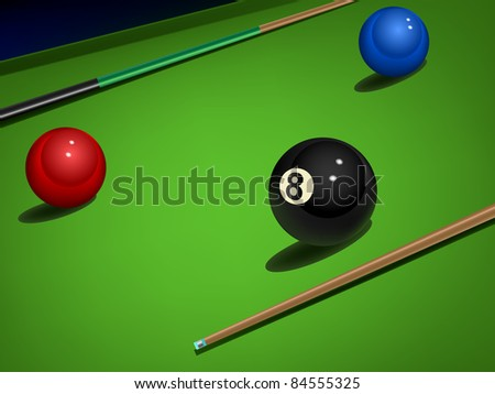 raster realistic snooker illustration with balls and sticks, vector version available