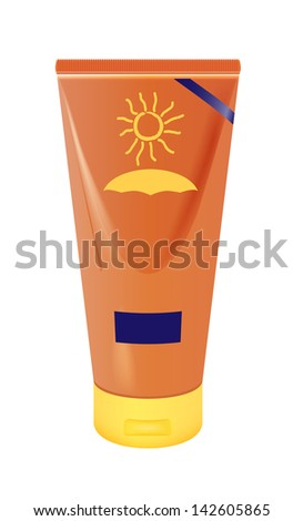 raster realistic sun lotion container on white background, vector version available - stock photo