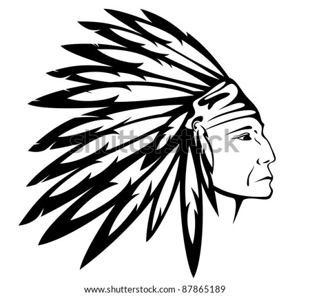 raster - Red Indian chief wearing traditional headdress (vector version is available in my portfolio) - stock photo