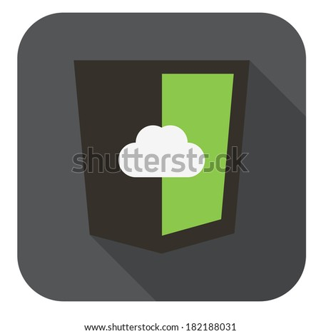 raster round icon -web shield with cloud in colors of node js framework - isolated flat design illustration - stock photo