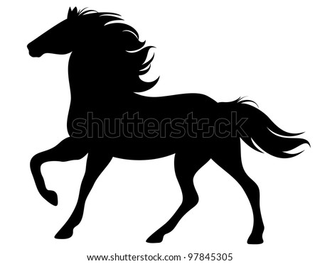 raster - running horse silhouette - black outline on white (vector version is available in my portfolio) - stock photo