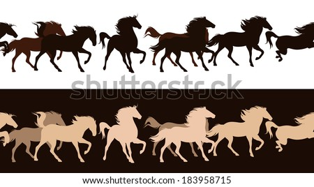 raster - running horses herd contrast outlines - seamless silhouette decor border (additional format also available) - stock photo
