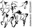 raster - running horses illustration (vector version can be found in my portfolio) - stock vector
