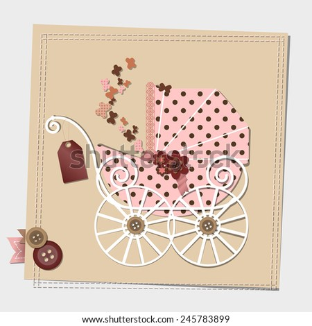 Raster Scrap-booking card with the vintage pink stroller. Baby shower invitation template. Happy birthday card. - stock photo