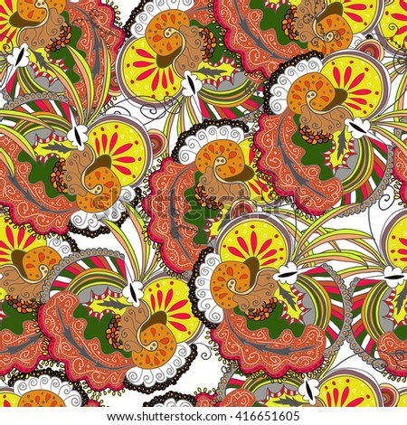 Raster seamless abstract boho colored pattern with floral ornament. Hand drawn repeating element.  Ethnic background. - stock photo