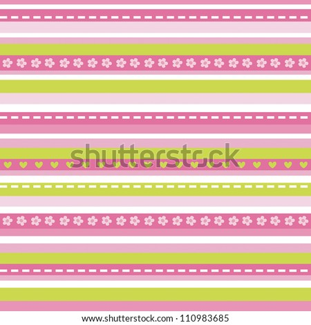 Raster seamless background pattern in pinks. Good for Greeting Cards, Baby Shower, Baptism, Christening, gift wrapping paper. See my folio for matching patterns. - stock photo