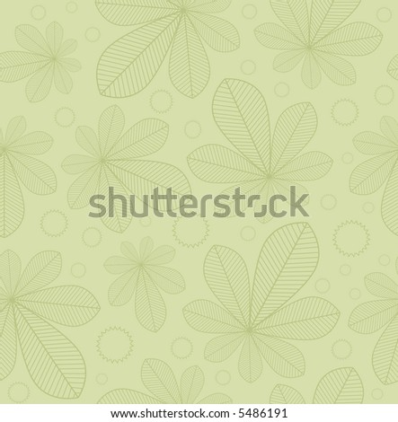 Raster seamless background pattern: outlines of chestnut leaves and nuts on pale green - stock photo