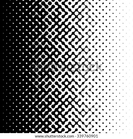 Raster Seamless Black and White Circle Halftone Gradient Pattern Abstract Background - stock photo