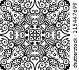 raster seamless black floral pattern background - stock photo