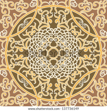 raster seamless brown traditional floral pattern background
