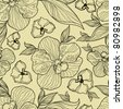 "RASTER Seamless floral orchid pattern (from my big ""Flower-set collection"") - stock photo"