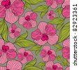 """RASTER Seamless floral orchid pattern (from my big """"Flower-set collection"""") - stock photo"""