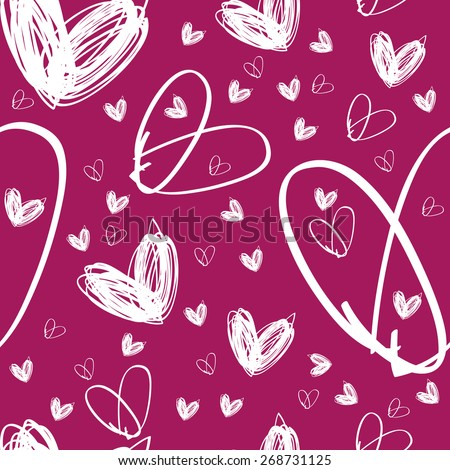 Raster seamless hand drawn white heart texture on pink background, textile or packing paper, background for landing page or site, greetings card, doodle, sketch, JPG - stock photo
