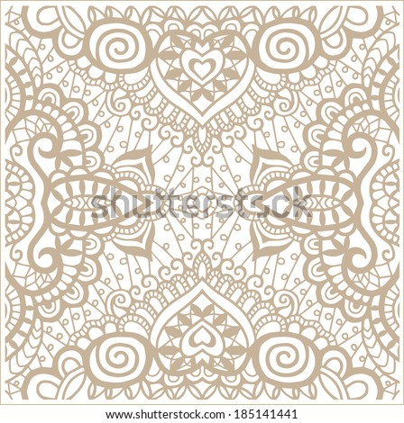 Raster seamless pattern, hand drawn sketch background, retro floral and geometric ornament, lace texture, abstract decoration, beige on white - stock photo
