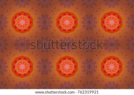 Raster seamless pattern with hand drawn doodle flowers. Cute floral background for textile, fabric, wrapping, scrapbooking. Childish design. On orange, pink and neutral backdrop.
