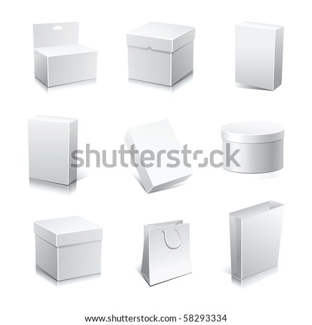 Raster set blank white boxes isolated on white. - stock photo