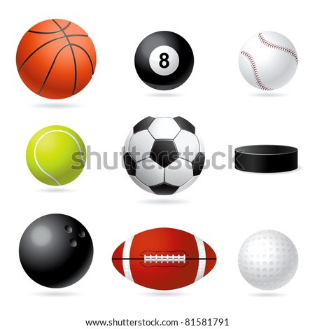 Raster set illustration of sport balls. - stock photo
