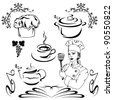 raster - set of b&w design elements - cooking (vector version is available in my portfolio) - stock photo