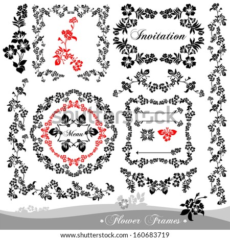 Raster set of calligraphic design elements: page decoration, Flower frames.  - stock photo