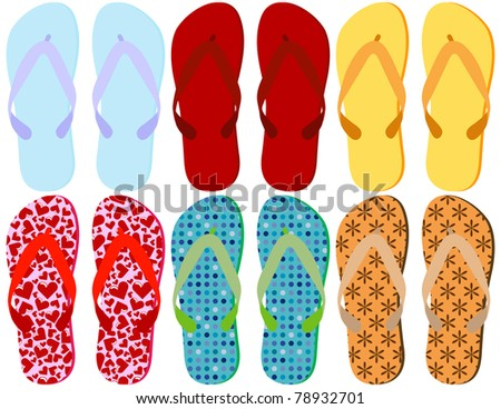 Raster Set of 6 Colorful Sandals