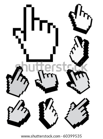 Raster set of 3d cursors - stock photo