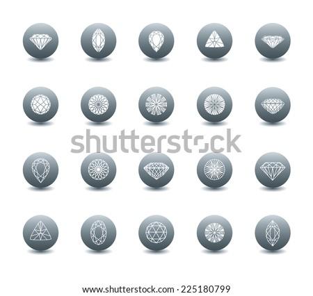 RASTER set of diamond icons - cutting samples - stock photo