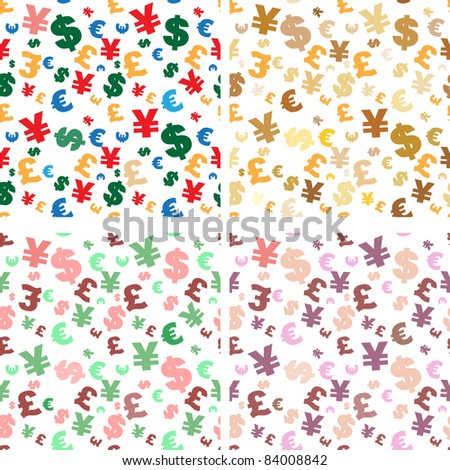raster set of four seamless different shades currency symbol backgrounds, vector version available - stock photo