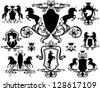 raster - set of heraldic design elements with unicorns (vector version is available in my portfolio) - stock photo