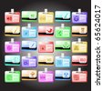 Raster set of id cards. 25 elements. - stock photo