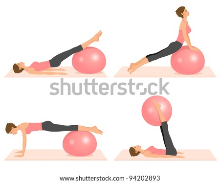 raster set of illustrations showing pilates exercises with a ball - stock photo