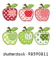 raster set of patchwork apples - stock photo