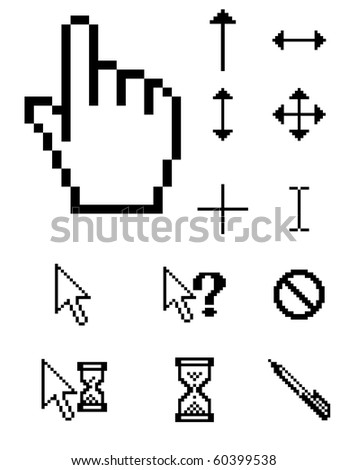 Raster set of pixel cursors - stock photo
