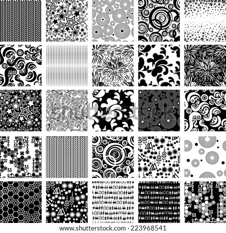 RASTER set of seamless abstract pattern with stars, diamonds - stock photo