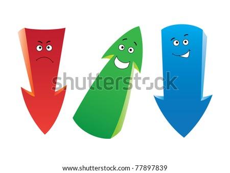 Raster set of the funny cartoon arrows - stock photo