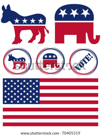 Raster Set of United States Political Party Symbols