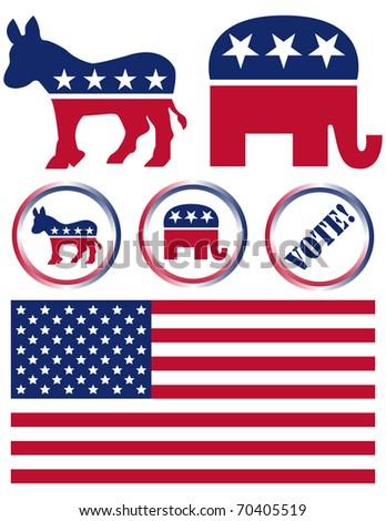 Raster Set of United States Political Party Symbols - stock photo