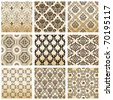 Raster set seamless wallpaper old flower decorative vintage. Vector copy search in my portfolio - stock photo