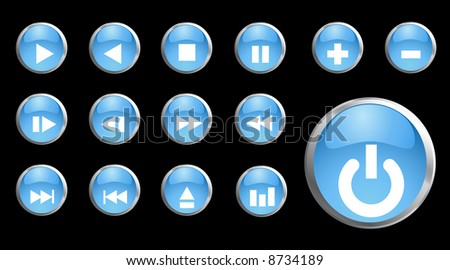 Raster - Shiny 3d black metallic buttons with music symbols.